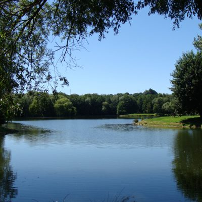 Rivière et étang de pêche calme